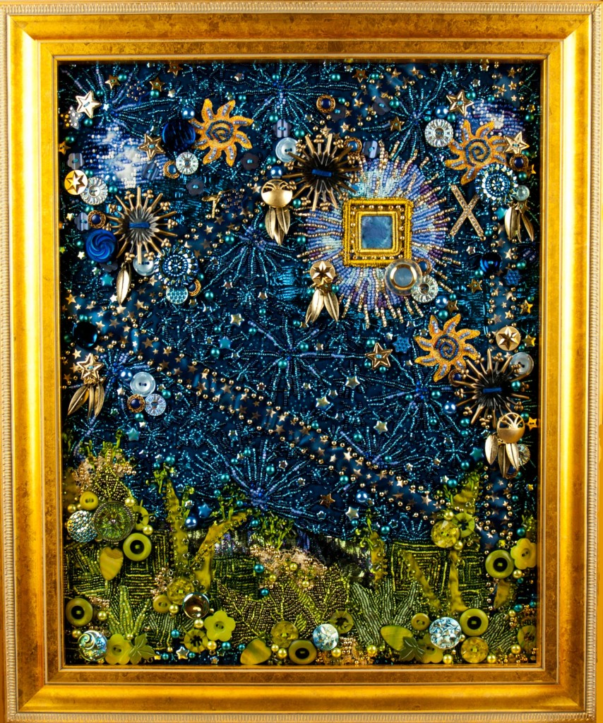 "Contemporary beaded art quilt - ""Garden for a Sky Warrior"", based on a person's energy field"