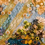 """A detail of an art quilt by Nancy Smeltzer, """"Diving Deep Into the Stream of Love and Connection"""""""