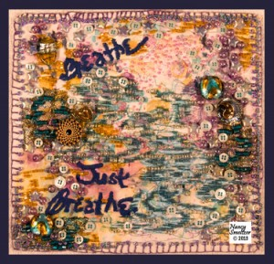 """Breathe in Peace"" - a small beaded art quilt"