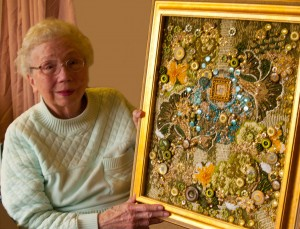 Photo of my Mother with her Meditation Garden Art Quilt